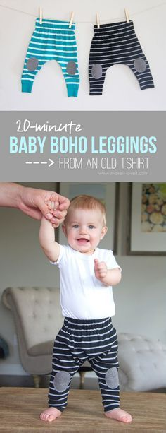Simple 20-minute Baby Boho Leggings (...from an old Tshirt)!!   via Make It and Love It