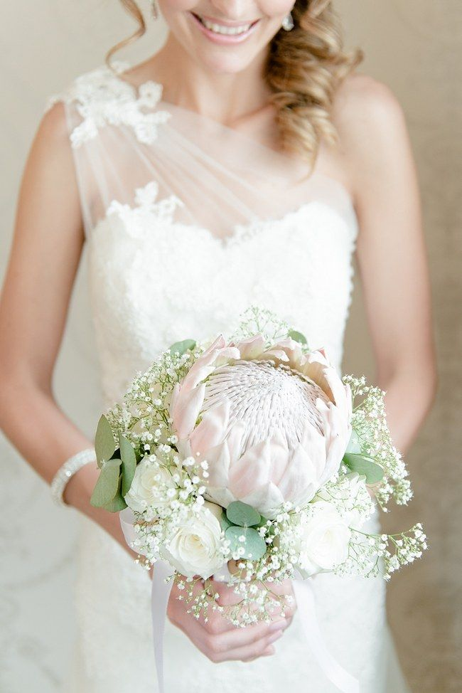Blush King Protea Bouquet | Babys Breath Lace Blush South African Wedding by Louise Vorster Photography as seen first on ConfettiDaydreams.com