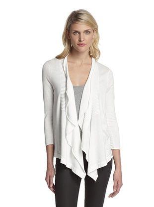 75% OFF Cotton Addiction Women's Pleat Front Cardigan (White)