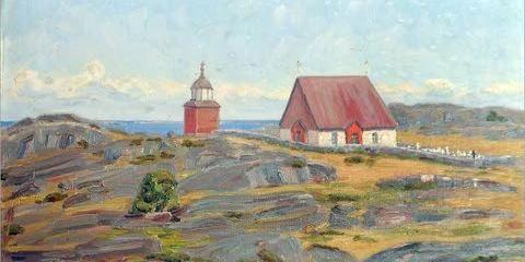 KÖKARS KYRKA. Kökar. Kökars kyrka är motivet på den målning av Elin Alfhild Nordlund