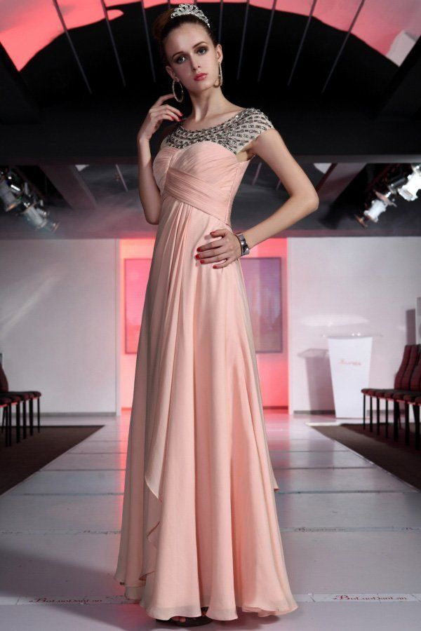 Free Shipping Latest Design Silk Chiffon Pink Long Crystal Modest Prom Dress 30387 Evening/Prom/Party Dresses $142.95