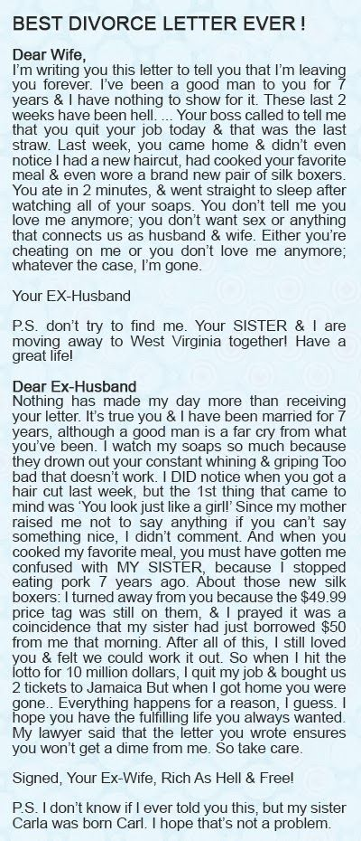 Nice letter from Husband to Wife....Nicer letter from wife back to Husband....WOMEN RULE....MEN DROOL!!!!!