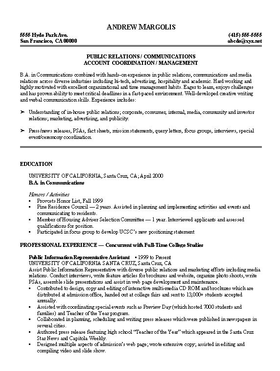 Examples Of College Resumes  Resume Examples And Free Resume Builder