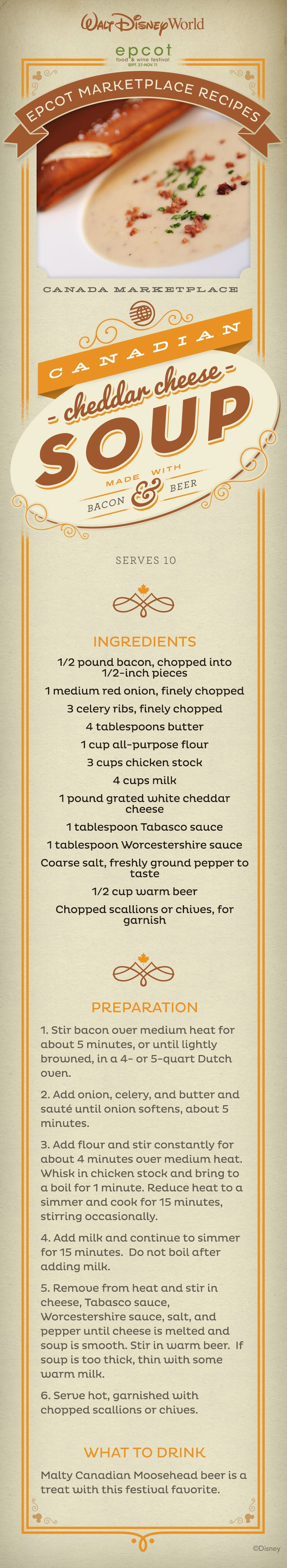 Bring Epcot International Food and Wine Festival home with this Canadian Cheddar Cheese Soup Recipe