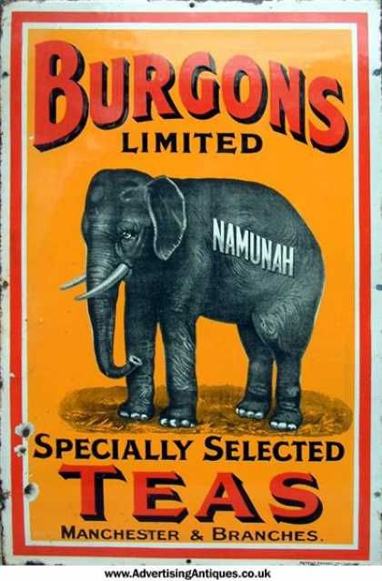 Burgons Limited Specially Selected Teas advertising sign ... with art of elephant labelled Namunah, Manchester & Branches, in oranges and black, early-mid 20th century, porcelain enamel on metal, UK