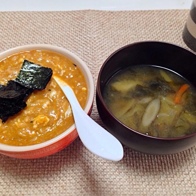 夫作 - 9件のもぐもぐ - チゲ雑炊 ごぼう味噌汁 by nyaromechan