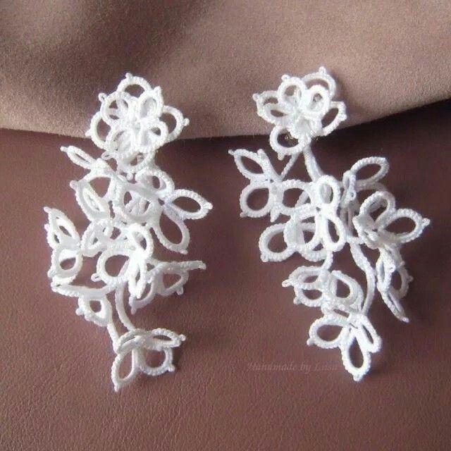 Tatted clip on earrings HandmadebyLiisa