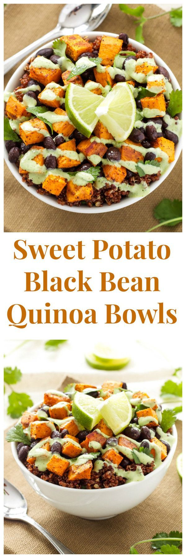 Sweet Potato and Black Bean Quinoa Bowls -- A delicious, filling, meatless meal that will please both vegetarians and meat lovers! #healthy #vegetarian  #lunchideas