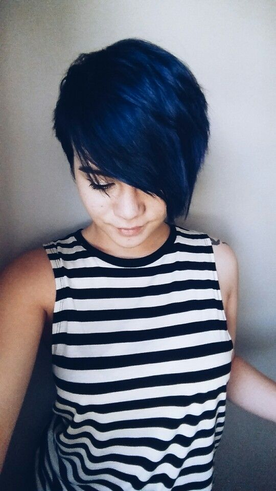 Blue hair pixie cut