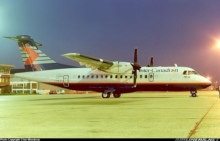Inter-Canadien Avions de Transport Régional ATR-42-300 C-FIQB at London-Luton, September 1989. Preparing for a return to Canada following a one-month lease to Ryanair. (Photo: Ian Woodrow)