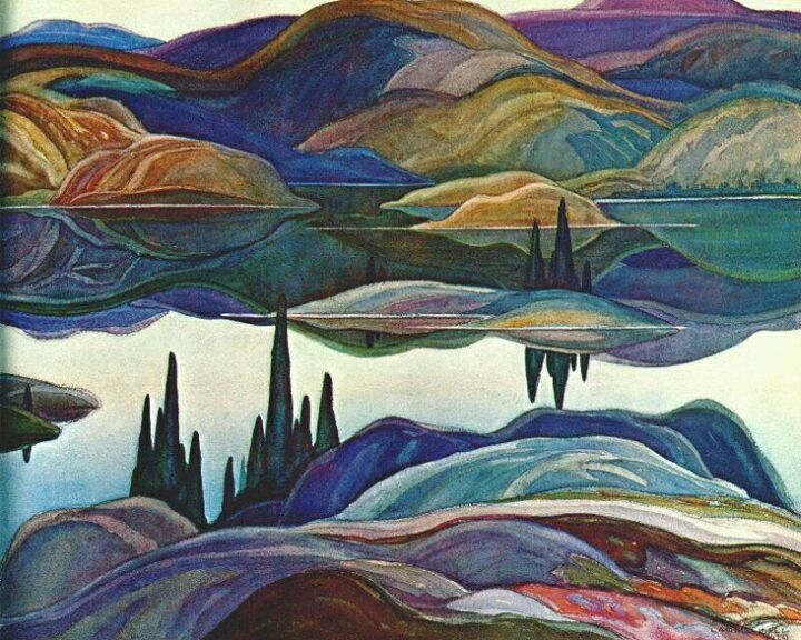 Franklin Carmichael (Canadian, Group of Seven, 1890–1945): Mirror Lake, 1929. Watercolor over graphite on paper, 51 x 68.7 cm. McMichael Canadian Art Collection, Kleinburg, Ontario, Canada, northwest of Toronto. © 2010 McMichael Canadian Art Collection.