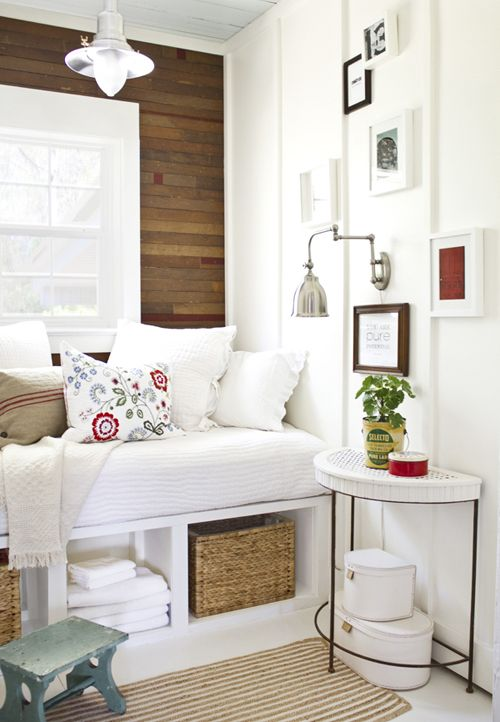 Bench idea for the closet? Without so much cushion, but yes to the baskets underneath. Or a shoe rack underneath?