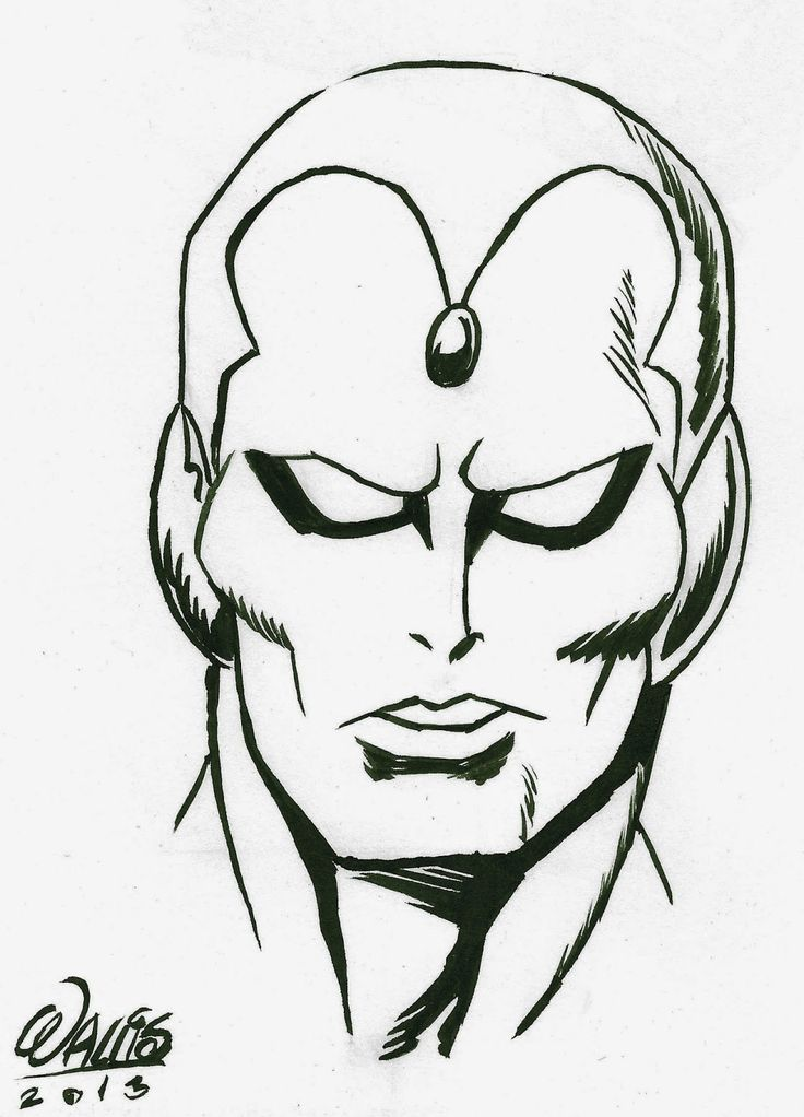 The Vision (Head) | THE ART OF WALLIS #marvelcomics #marvel #thevision #avengers #inks #sketching #sketch #portrait