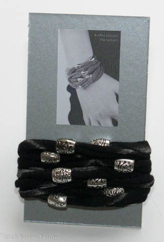 Black Bracelet with Silver Toned Beads