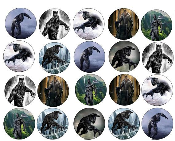 Personalized Edible Images Black Panther 20 or 40 Count - Cupcake, Cookie Toppers Topper are approximately 2 inches Topper come uncut Great for Cupcakes, Cookies, Chocolate Covered Oreos/Fruit, Rice Krispy treats, HoHo's and More They are a great and inexpensive way to decorate your