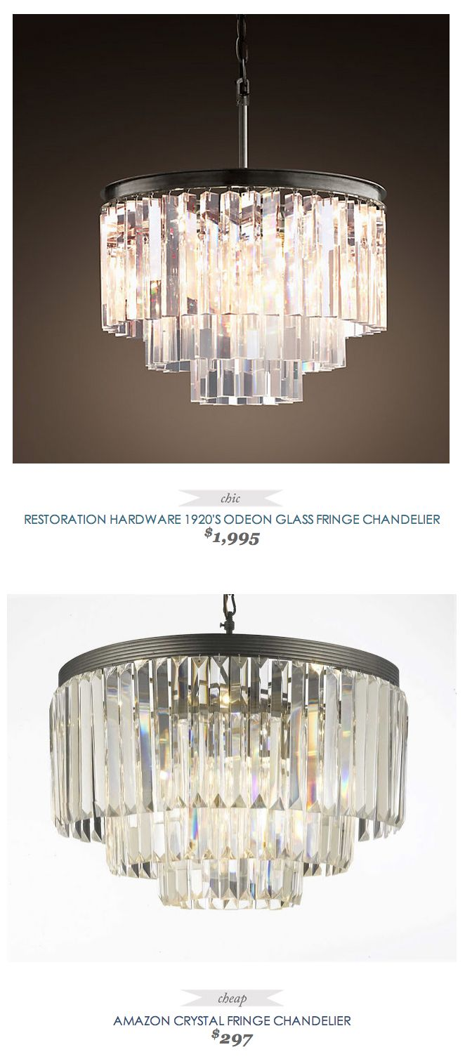 CopyCatChic RestorationHardware 1920s Odeon Glass Fringe Chandelier 1995