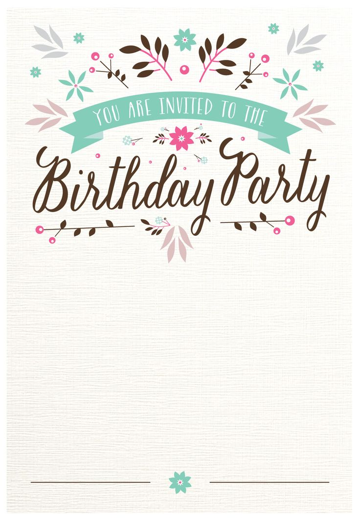 Flat Floral - Free Printable Birthday Invitation Template - birthday party card template