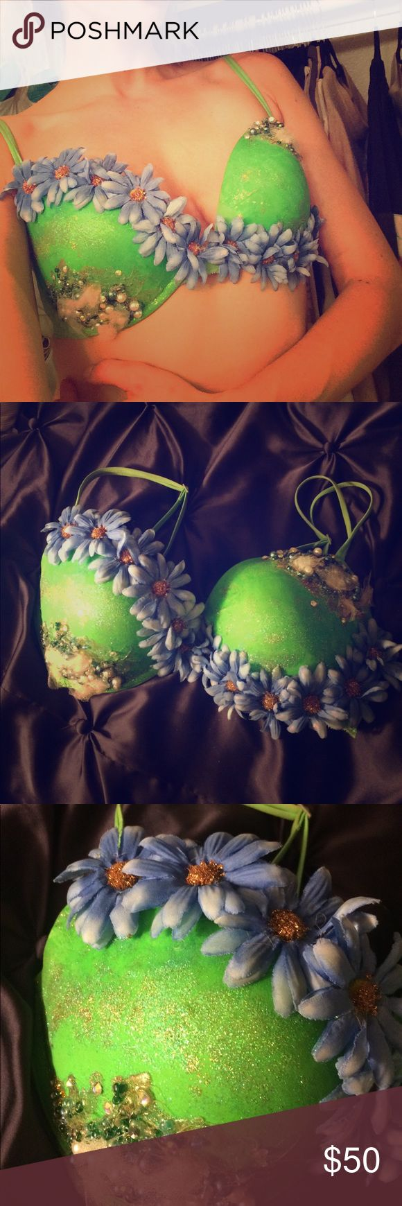 Flowered Festival Bra Built off of a Victoria's Secret push up bra and worn once. Embellished with faux pearls, beads and sequins. PINK Victoria's Secret Intimates & Sleepwear Bras