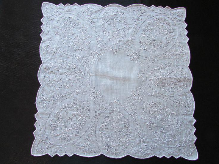 винтажные Свадебные Мадейра платочек с вышивкой белый с серым оттенком in Одежда, обувь и аксессуары, Винтаж, Винтажные аксессуары, Носовые платки, Свадебный | eBay