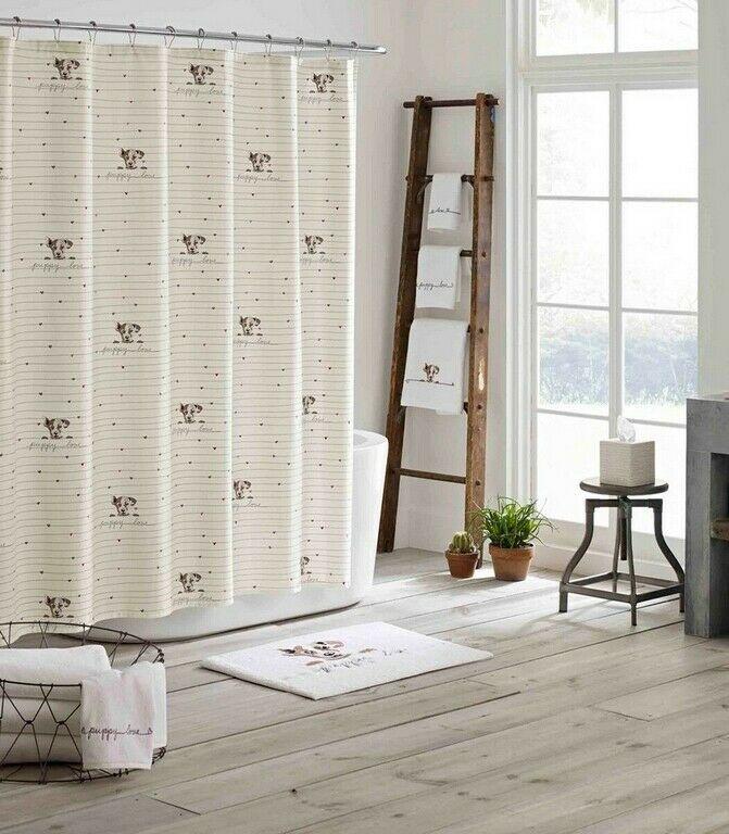 Ed Ellen Degeneres Puppy Love Shower Curtain Dog 72x72 100 Cotton