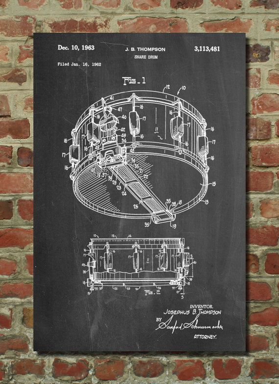 Snare Drum Patent Poster Dyna-Sonic Big Band Drum by PatentPrints