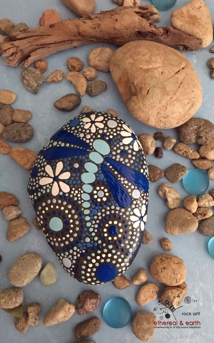 What to give? Problem Solved! One-of-a-Kind Rock Art - Original Hand Painted Rock with Drgaonfly Motif - Mandala Inspired Design - blue luminescence collection #60 - $33 - FREE SHIPPING!