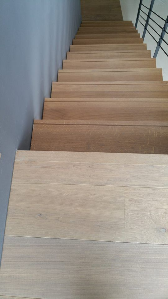 Engineered Oak Wood Flooring Sand First And Ground Floor Landings Solid Stair Nosing Same Finish As Planks Treads Risers Covered