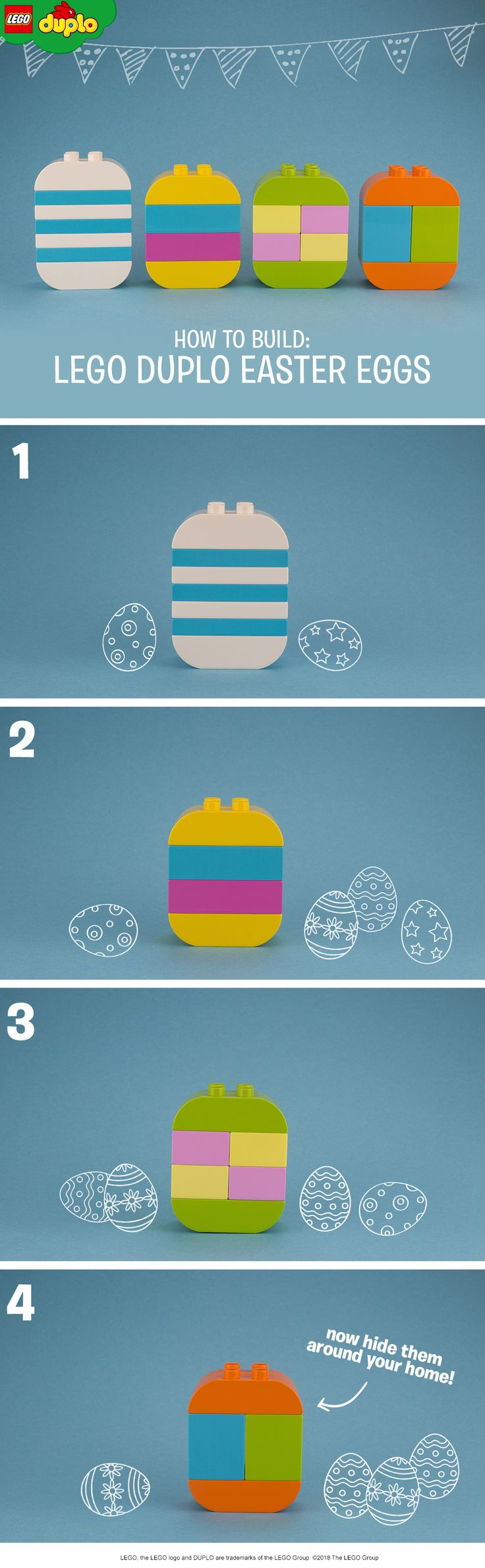 They might not be made of chocolate, but we think our LEGO DUPLO eggs look just as good! Build them together with your kids and then hide them around the house for your own alternative Easter egg hunt. If you want to make it even more difficult, try hiding the bricks separately so the kids have to race to be the first to build a whole egg. Get more colorful bricks here.
