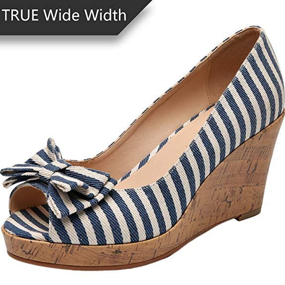 19400b9e8c191 Amazon.com | Luoika Women's Wide Width Wedge Shoes - Plus Size Heel ...
