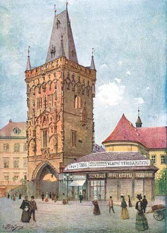 Vaclav Jansa Prašná brána po Mockerově rekonstrukci. Věž bývala spojena mostkem se sousedním Královým dvorem, na jehož místě později vznikl kostel sv. Vojtěcha a kadetní škola, a následně dodnes stojící Obecní dům.