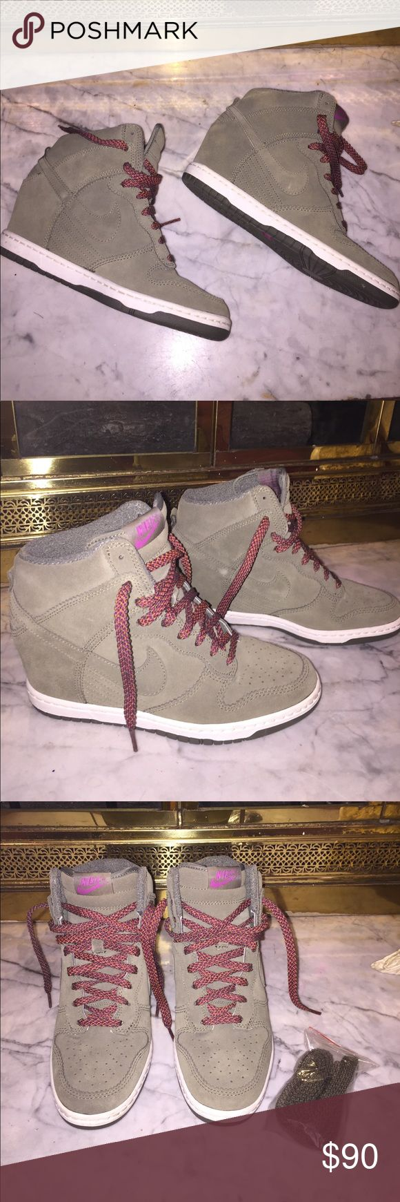 Women's Nike Dunk Sky Hi Excellent Condition! These are sneaker wedges and come with box and extra set of laces. Only worn 4x, basically brand new. Nike Shoes Sneakers