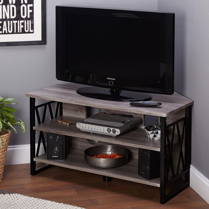 Awesome Tv Table With Storage Part - 9: Corner TV Stand Entertainment Unit Black Grey Finish W Storage Shelving TV  Table