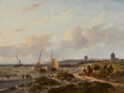 Andreas 'Andries' Schelfhout (Den Haag 1787-1870) Vissersschepen voor de kust van Katwijk - Kunsthandel Simonis en Buunk, Ede (Nederland).