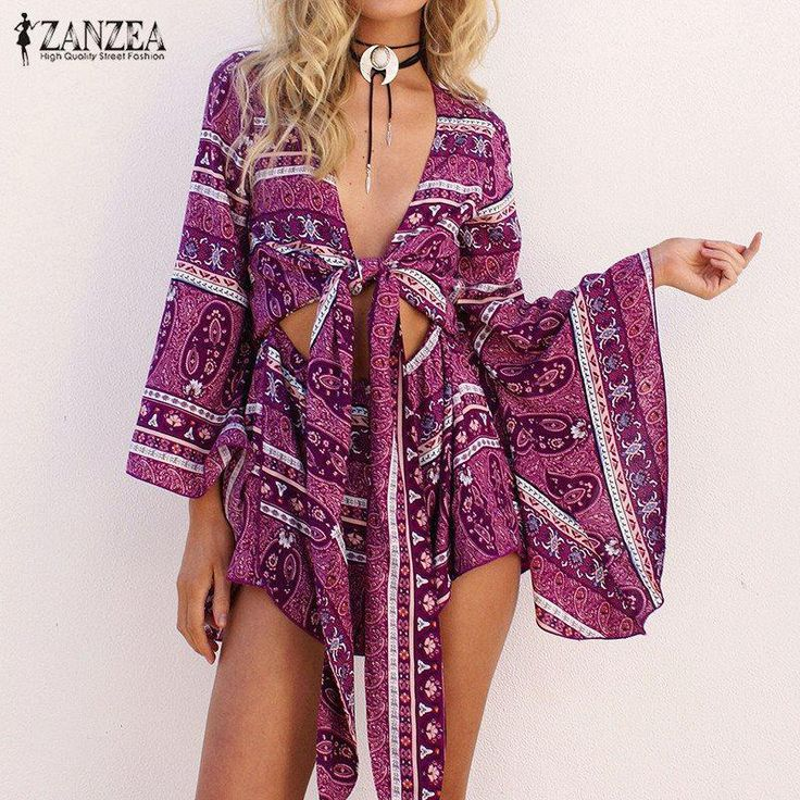 2017 Spring ZANZEA Rompers Womens Jumpsuit Sexy Deep V Neck Long Sleeve Ruffled Vintage Print Bodysuit Casual Beach Playsuit