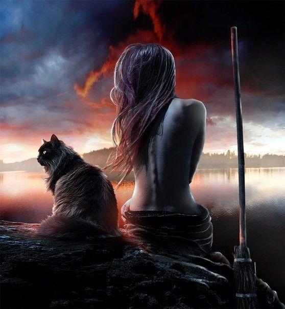 Ведьма с кошкой картинки