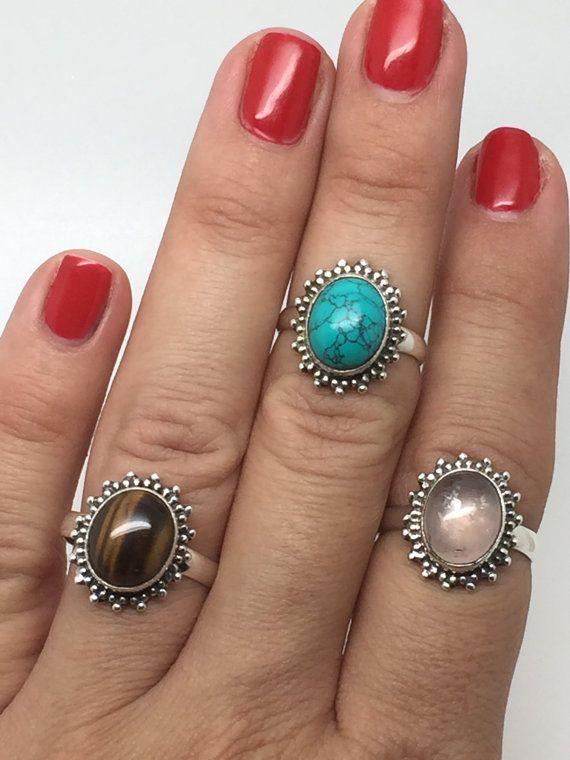 boho silver ring with tiger eye stonetiger eye by koraljewelry