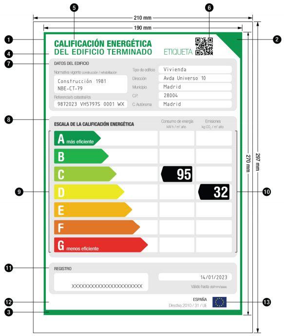 Modelo de etiqueta de eficiencia energetica para viviendas