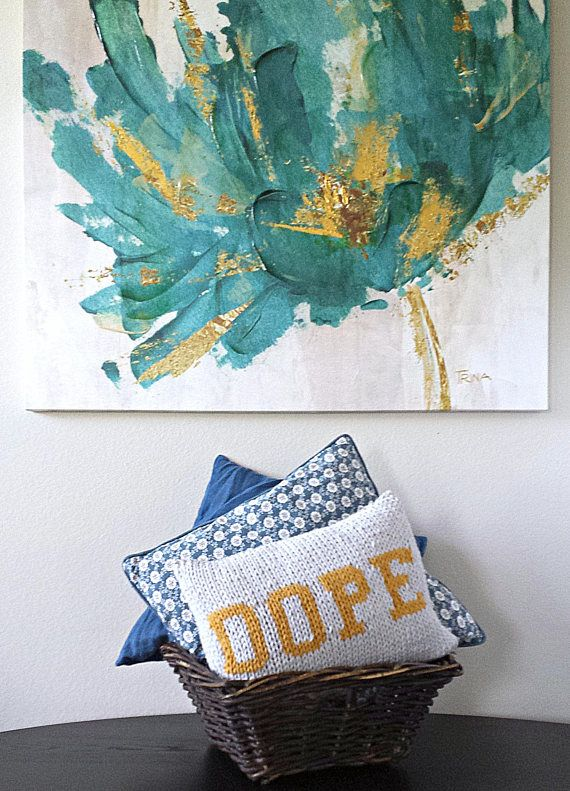 A knitted pillow to bring a little attitude to your bedroom, living room, or wherever! This knitted design was made to be edgy yet comfy. Its an awesome and perfect gift for a roommate, college student, or just someone you love that is simply dope! This pillow was inspired by my husband and our overuse of the word dope in our household. We love having it in our home and I hope you will too! Made with acrylic bulky yarn, this soft throw pillow includes the knitted pillow cover that is sewn…