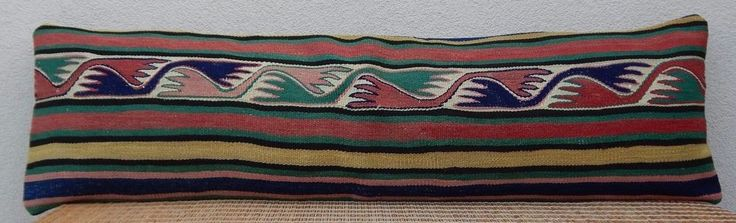 14x48'' Boho Bedding Handwoven Kilim Pillow Cover,Eco Friendly Long Bed Cushion #Handmade