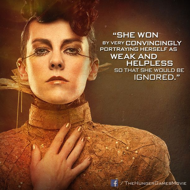 "She won the Games.... only by being ""shy"" and ""helpless"" - Johanna Mason."