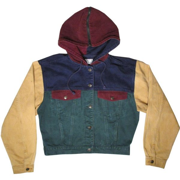 Vintage Original Jordache Jeans Denim and Corduroy Button Up Hooded... ($34) ❤ liked on Polyvore featuring tops, colorful tops, vintage tops, blue top, button down top and button up tops