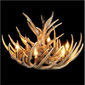 Ceiling Lights - Chandeliers - Antique Chandeliers - Antler Featured Chandelier with 6 Lights - $330