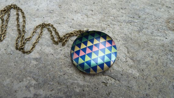 Geometric Triangle Locket Necklace  Colourful by The Vintage Acorn, $22.00
