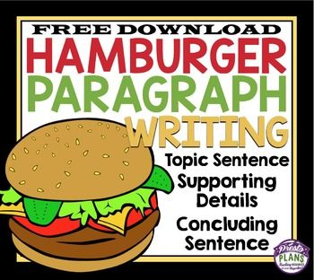 FREE PARAGRAPH WRITING GRAPHIC ORGANIZER HAMBURGER METHOD