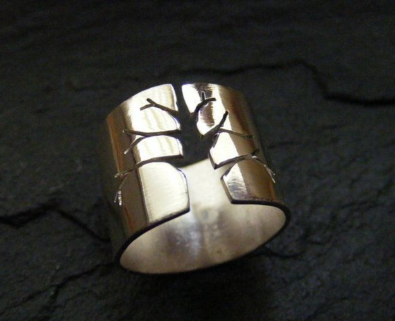 Silver wide band ring with tree design Sterling by dAgDesigns
