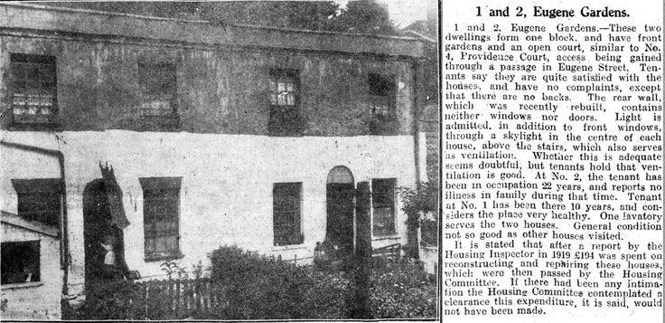 https://flic.kr/p/F7GoJq | 1924 Eugene Gardens, Kingsdown, Bristol | Off Eugene Street. Kingsdown or St James'.  Western Daily Press, Bristol Slum Clearance 1924.