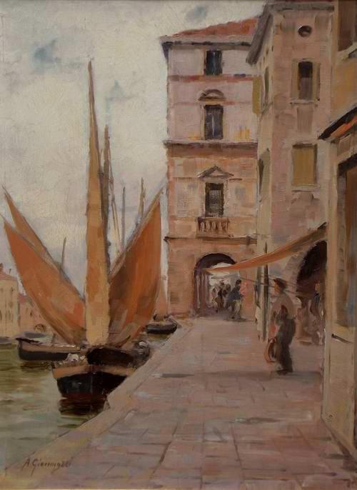 Alberto Giacomazzi (1890 - 1969) | Chioggia, Tempo piovoso.
