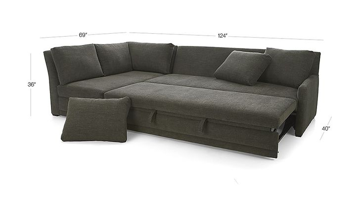 Reston 2-Piece Sleeper Sectional Sofa - Charcoal | Crate and Barrel