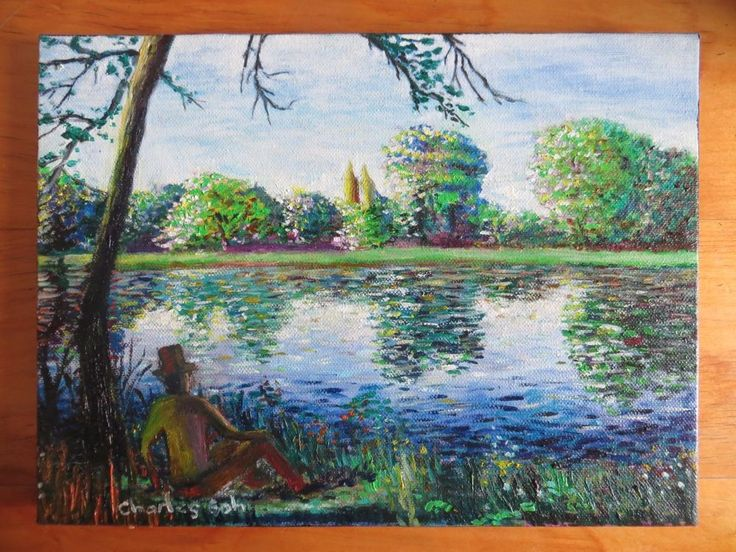 """Beautiful Colorful Oil Painting """" NYC 's Central Park Scene"""" , Original #ColourfulOilPainting"""