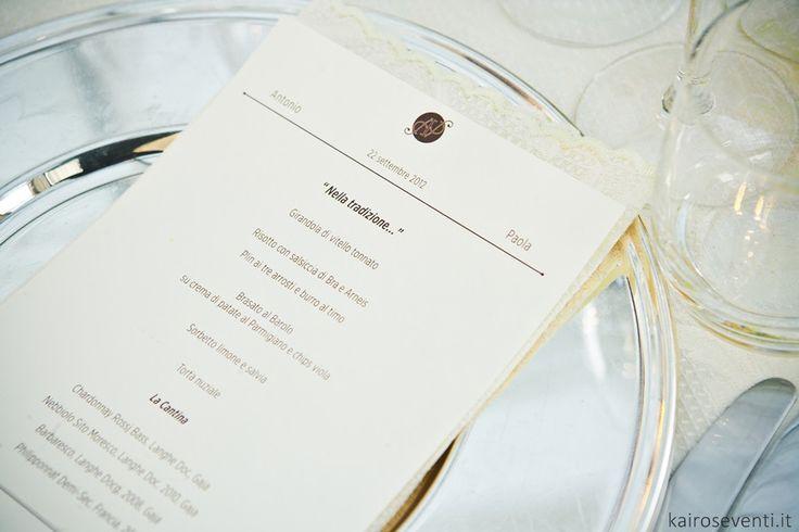 Menù | Wedding designer & planner Monia Re - www.moniare.com | Organizzazione e pianificazione Kairòs Eventi -www.kairoseventi.it | Foto Oscar Bernelli